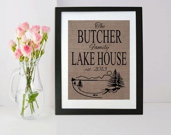 Lake House Decor Burlap Print - Lake House Sign - Lake Life Decorations - Burlap Print - Personalized Lake Sign - Lake  Housewarming Gift
