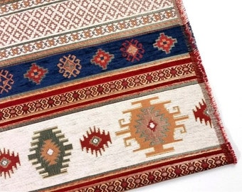 Ethnic Tribal Style Chenille Upholstery Fabric, Aztec Navajo Fabric, Geometric Design Kilim Fabric, by the Yard/Meter, Navy White, Ach-031