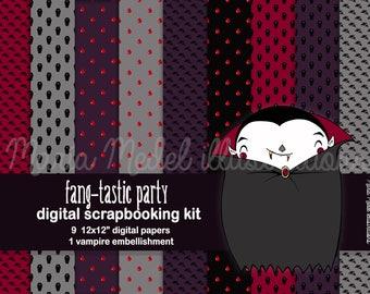 HALLOWEEN SCRAPBOOKING KIT- 9 digital papers and 1 embellishment. Instant download