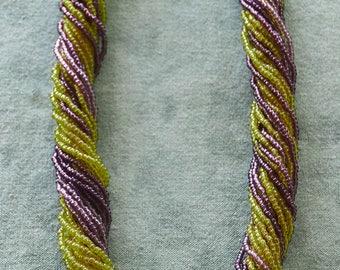 "Estate Italian MURANO GLASS Bead Twisted 24 Strand TORSADE Necklace  21"""