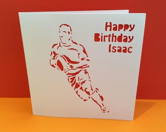 Rugby Card - Birthday Card - Father's Day Card - Paper Cut - Handmade Greeting Card - for a Man, Dad, Husband, Son, Boyfriend, Personalised