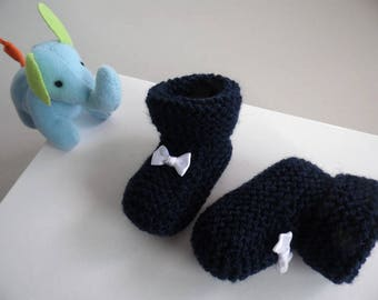 Navy Blue knit wool baby booties