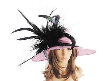 Lilac & Black Hat for Weddings, Races, and Special Events