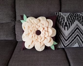 Yellow and Brown flower pillow