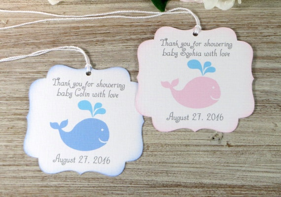 Whale Baby Shower Favor Tags Nautical Baby Shower Thank You