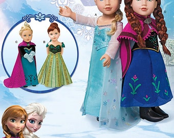 """Simplicity Sewing Pattern 1217 Disney Frozen 18"""" Doll Clothes"""