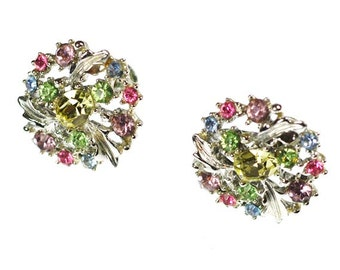 Vintage Pastel Rhinestones Earrings Screw Back Leaves Signed Lisner