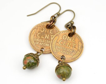 Wheatie penny earrings, French hooks, green ocean jasper, brass, dangle