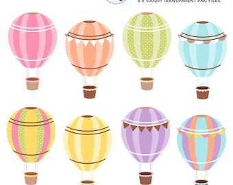 Hot Air Balloons Clipart Set - bright hot air balloons, bunting, balloon, basket - personal use, small commercial use, instant download