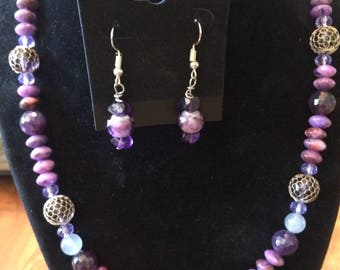 purple necklace and earring beaded set with  sterling toggle clasp