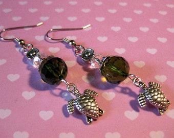 Turtle Green Crystal Beaded Earrings