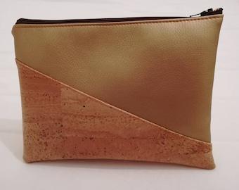 Pouch makeup vegan Cork leather /trousse
