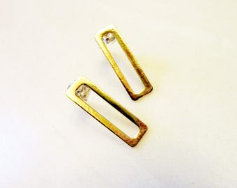 Open Rectangle Brass Earrings, Sterling Silver Posts, Simple Everyday Modern, Geometric Outline Charm