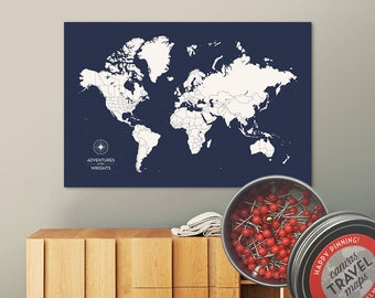 Push Pin Map (True Navy) Push Pin World Map Pin Board World Travel Map on Canvas Push Pin Travel Map Personalized Wedding/Anniversary Gift