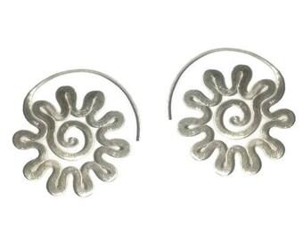 Large Spiral Sterling Silver Statement Hoops Earrings, Handmade Tribal Boho earrings,Hippie earrings, Zigzag spiral Women or Men Earrings
