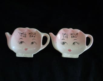 1950's A pair of tea bag holders pink faces painted Japan