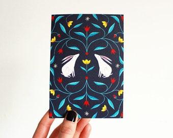Floral Rabbits | Greetings Card | Birthday | Notecard A6