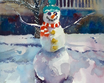 Christmas Snowman, Snowman Painting, Winter Painting, Snowman Watercolor, Christmas Painting, Snowman