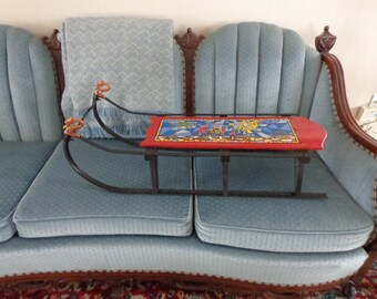 Antique Child's Sled--Hand-Sketched, Hand-Painted Christmas Scene/Country/Cabin/Rustic