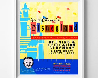Disneyland Artwork, Vintage Disneyland, Vintage Walt Disney, Disneyland Print, Happiest Place, Fantasyland, Adventureland, Fathers Day Gift