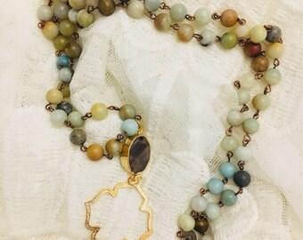Amazonite Druzy necklace -boho necklace-beaded necklace