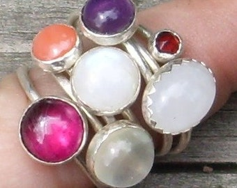 Design a Ring - Sterling Silver Stacking Ring with stone.