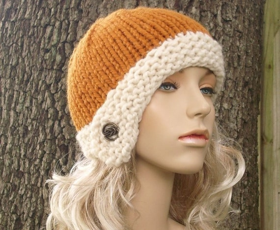 Knit Hat Womens Hat - Cloche Hat in Apricot Orange and Cream Knit Hat - Orange Hat Cream Hat Womens Accessories Winter Hat