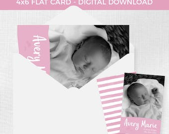 Birth Announcement Flat Card 4x6 // Digital Download