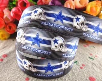 "Cowboys Grosgrain 7/8"" Printed Ribbon, Dallas Cowboys Ribbon"
