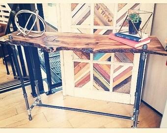 Live Edge Industrial Sofa Table