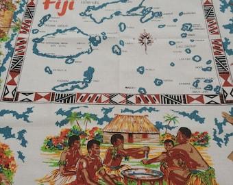 Map tablecloth etsy vintage map of fiji islands barkcloth small square tablecloth bridgecloth fifties souvenir map tablecloth gumiabroncs Image collections