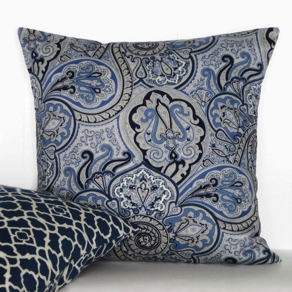 Navy Paisley Rug: Navy Blue Pillow Cover Paisley Decorative Throw Accent Ivory