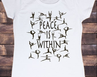 Women's White T-Shirt 'Peace is Within'  Yoga Meditation Peaceful Zen TSS8
