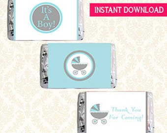 Carriage Baby Shower Favor Labels, Mini Hersheys Candy Bar Wrappers, Printable Blue and Grey DIY Shower Favor Wraps, It's A Boy, Thank You