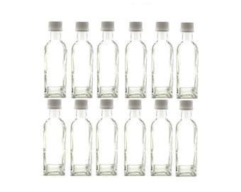 12 pcs 60 ml Square Marasca Glass Liquor Bottles with White Cap