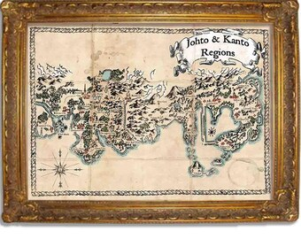 Pokemon Map - Johto and Kanto Regions - Vintage Style Map - Available in Multiple Sizes 5x7, 8x10, 11x14, 16x20, 18x24, 20x24, 24x36