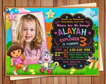 Dora the explorer Birthday photo Invitation, chalkboard Invitation, Printable Dora The Explorer, Custom Invite, free card thanks!