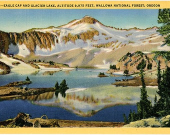 Wallowa National Forest Eagle Cap & Glacier Lake Oregon Vintage Postcard (unused)