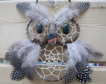 Brown Owl Dreamcatcher with Gemstone Eyes and Beak
