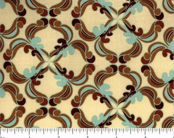 Fortiny by Tina Givens for Free Spirit Fabrics -  ZD-70475-001 - 100% Cotton - Aqua Blue and Brown
