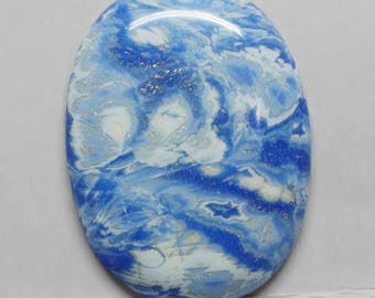 Blue and White Polymer Clay Freeform Oval Cabochon