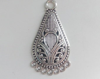 2 x Antique silver chandelier 31x20mm - Multi rings connector - Necklace finding - Earring finding - Crescent connector [CS017]