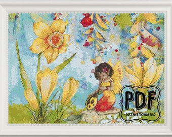 Watercolour Flower Fairy Garden Cross Stitch Pattern, Instant Download PDF