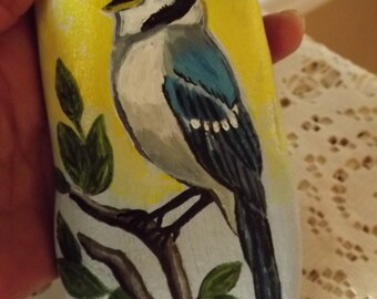 Hand Painted Rock River Rock Blue Jay Paper Weight