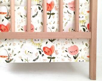 Crib Skirt Wonderland. Baby Bedding. Crib Bedding. Crib Skirt Girl. Baby Girl Nursery. Coral Floral Crib Skirt. Pink Floral Crib Skirt.