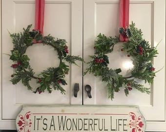 """Its A Wonderful Life 6"""" x 24"""" Wood Sign / Christmas Sign / Hand Painted Sign / Annie Sloan Old White Chalk Paint and Red Rosemaling"""
