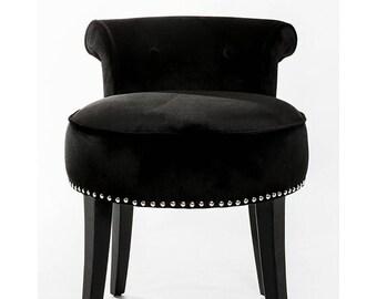 Regal Black Brilliance Silk Velvet Tufted Back Vanity Stool