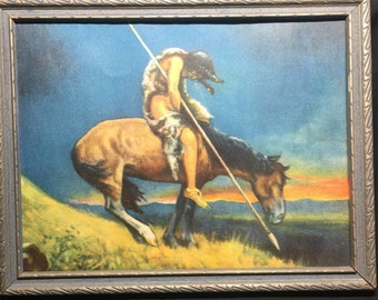 Vintage End of Trails Indian Warrior Print