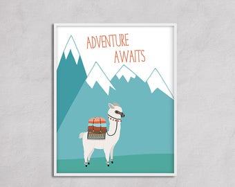 Adventure Awaits Alpaca Nursery Art Printable. Adventure Camping Big Boy Room Nursery Boy , Travel Nursery Large Wall Art Gender Neutral