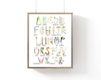Alphabet Print, Nursery Print, Preschool, Watercolor, Baby Shower Gift, Kids Room, Nursery Wall Art, 8x10 or 8.5x11